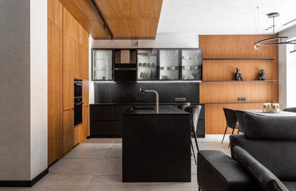 Kitchen Simple Lamellar wood + fenix in Dnipro
